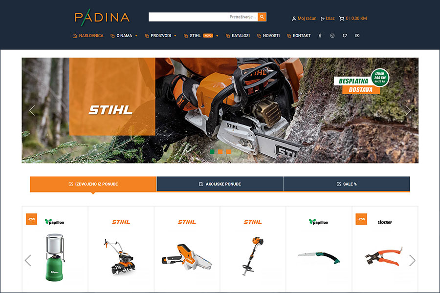 Nove webshop stranice www.padina.ba